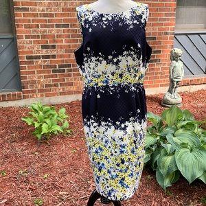 Tahari floral pocketed scuba tank sheath dress 14